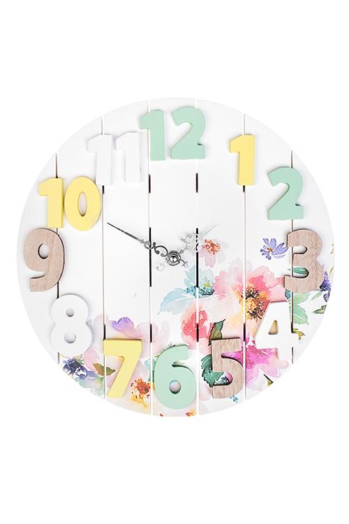 Часы настенные Изысканные цветыИнтерьер<br>Д=30см, МДФ<br>