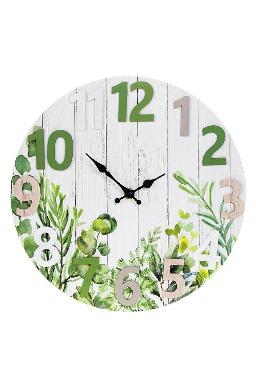 Часы настенные Нежность листвыИнтерьер<br>Д=30см, МДФ, металл, бело-зеленые<br>