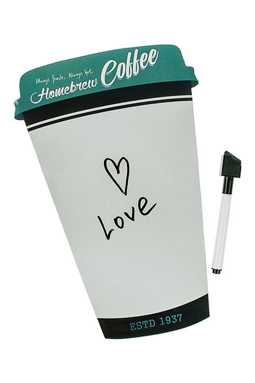 Доска-мемо магнитная Стаканчик кофеМемо-листики и доски<br>17*26см, резина, пластм., с маркером<br>