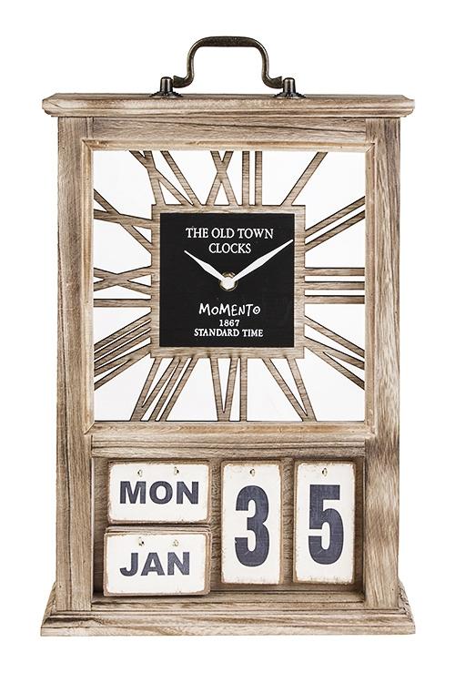 Часы настольные ВечностьИнтерьер<br>27*40*9см, МДФ, металл, пластм., с календарем<br>