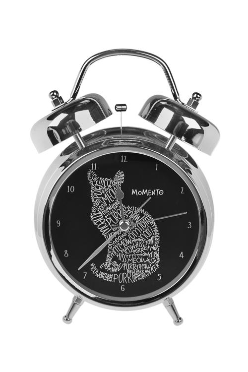 Часы настольные МяуууИнтерьер<br>12*17см, металл, с будильником, с подсветкой<br>