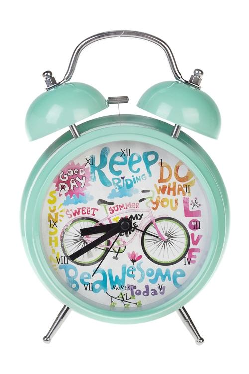 Часы настольные Велосипедная прогулкаИнтерьер<br>15*20см, металл, с будильником, с подсветкой<br>