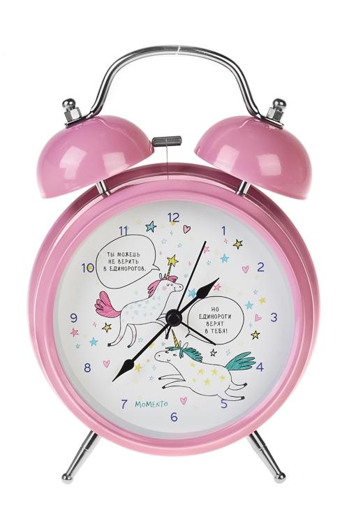 Часы настольные ЕдинорогиЧасы Настольные<br>15*20см, металл, с будильником, с подсветкой<br>