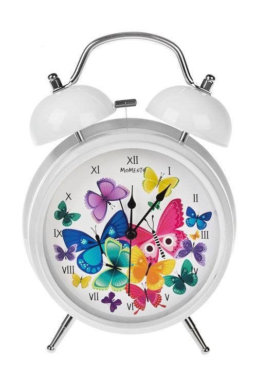 Часы настольные Разноцветные бабочкиИнтерьер<br>15*20см, металл, с будильником, с подсветкой<br>