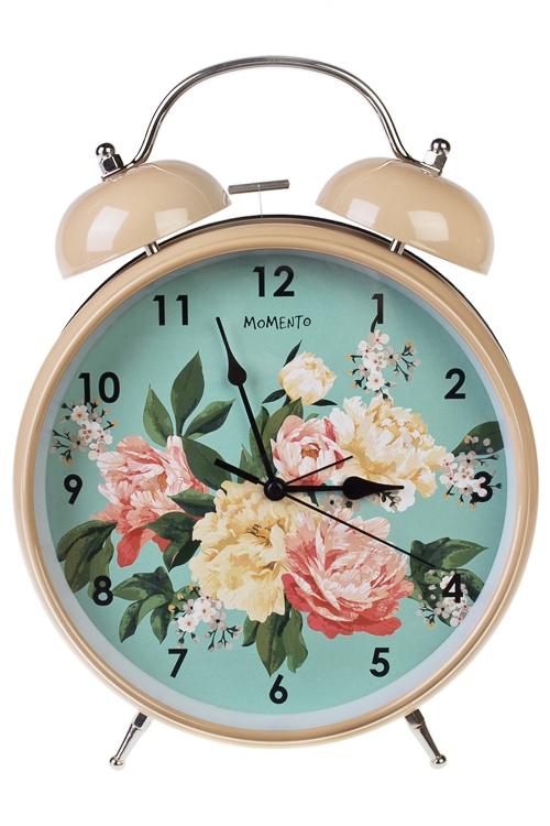 Часы настольные Прекрасные пионыПодарки ко дню рождения<br>23.5*29см, металл, с будильником<br>