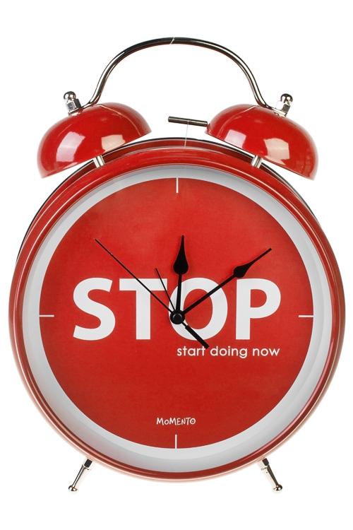 Часы настольные СТОП сонПодарки ко дню рождения<br>23.5*29см, металл, с будильником<br>