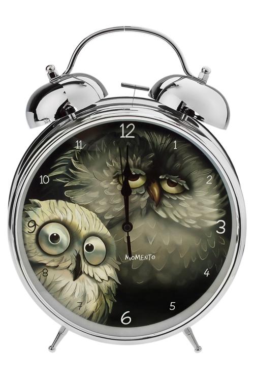 Часы настольные Сонные совушкиИнтерьер<br>23.5*29см, металл, с будильником<br>