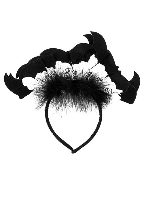 Обруч на голову маскарадный для взрослых Стая летучих мышейПодарки на Хэллоуин<br>Пласт., перо, текстиль, черный<br>