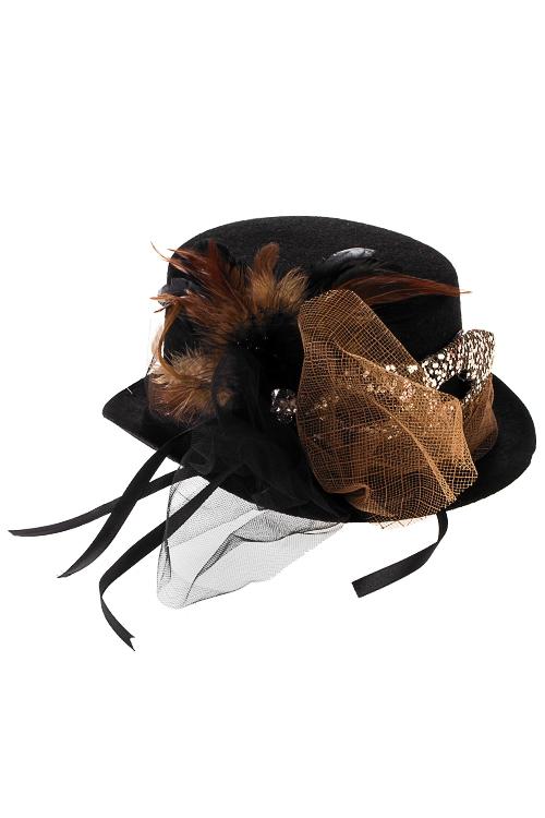 Шляпа маскарадная для взрослых КарнавалПодарки на Хэллоуин<br>Текстиль, пластм., перо, черно-коричн.<br>