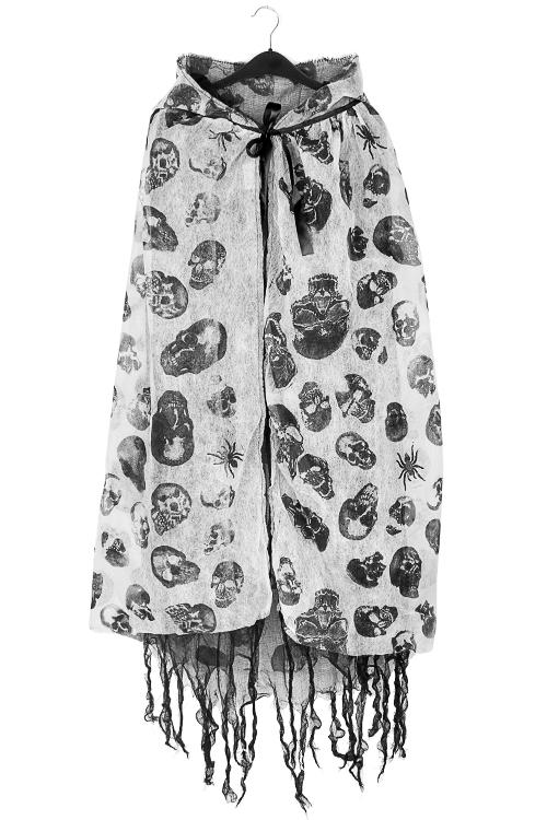 Плащ маскарадный для взрослых ЧерепаМаски и костюмы для Хэллоуина<br>Текстиль, бело-серый<br>