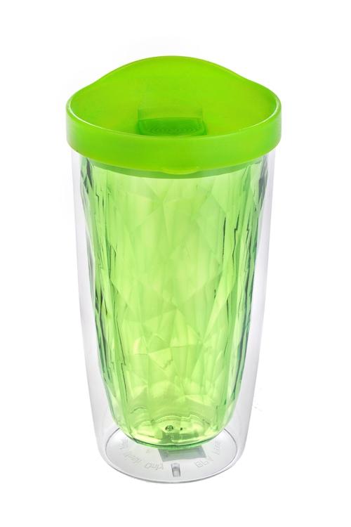 Термостакан ГраниТермокружки и стаканы для чая/кофе<br>450мл, акрил, зеленый (с двойными стенками)<br>