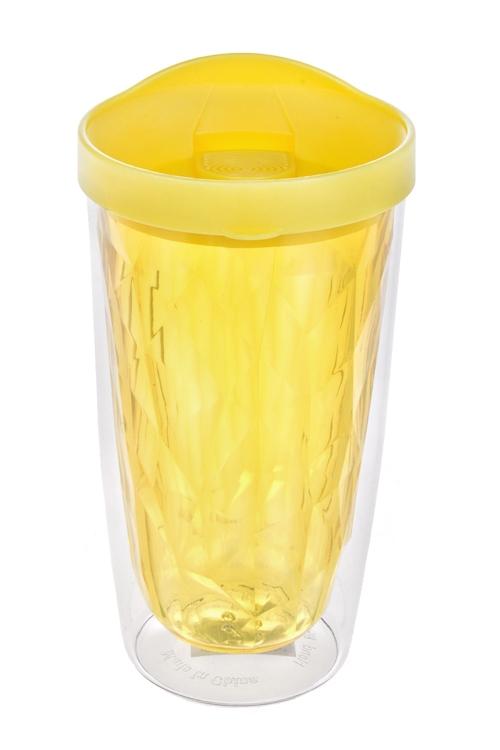 Термостакан ГраниТермосы и термокружки<br>450мл, акрил, лимонный (с двойными стенками)<br>