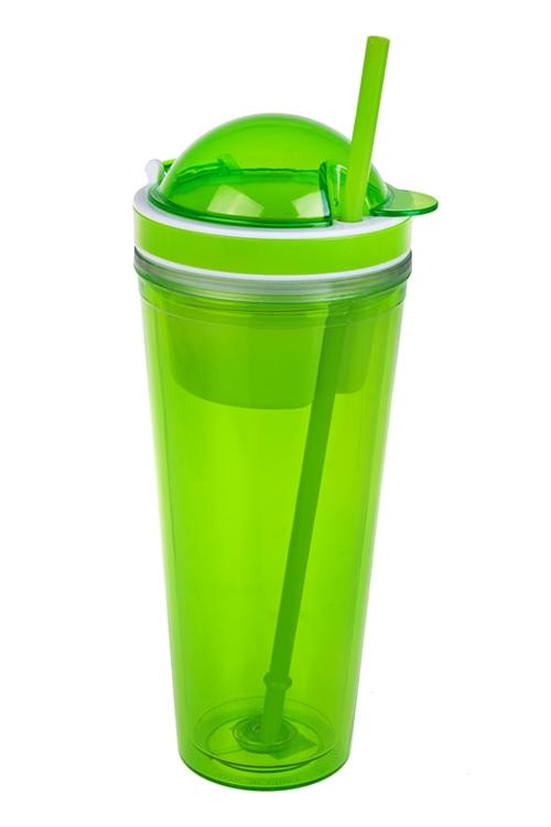 Стакан для смузи с крышкой и трубочкой ЯркостьТермосы и термокружки<br>620мл, акрил, зеленый (с двойными стенками, с трубочкой, с емкостью для еды)<br>