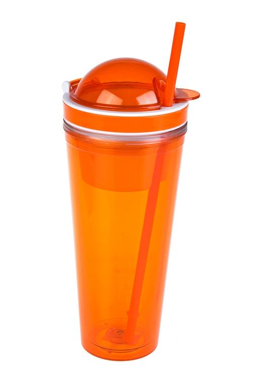 Стакан для смузи с крышкой и трубочкой ЯркостьДача и Путешествия<br>620мл, акрил, оранж. (с двойными стенками, с трубочкой, с емкостью для еды)<br>