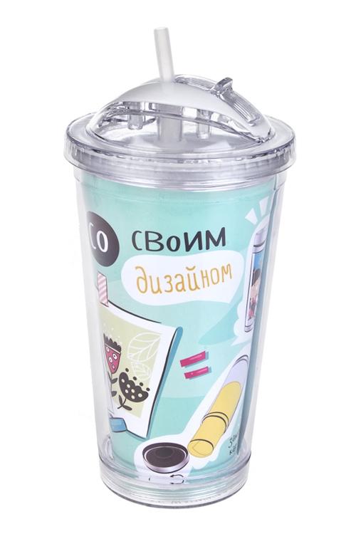 Стакан для смузи с крышкой и трубочкой ФантазияТермокружки и стаканы для чая/кофе<br>450мл, акрил (с двойными стенками, с трубочкой, со сменным декором)<br>