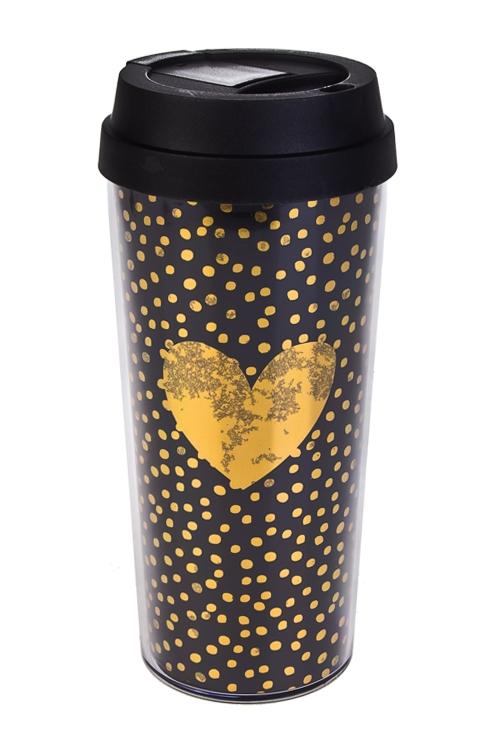 Термокружка Золотое сердцеТермокружки и стаканы для чая/кофе<br>450мл, пластм. (с двойными стенками)<br>