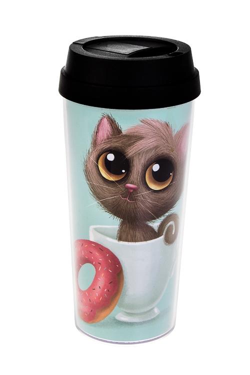 Термокружка МяуТермокружки и стаканы для чая/кофе<br>480мл, пластм. (с двойными стенками)<br>
