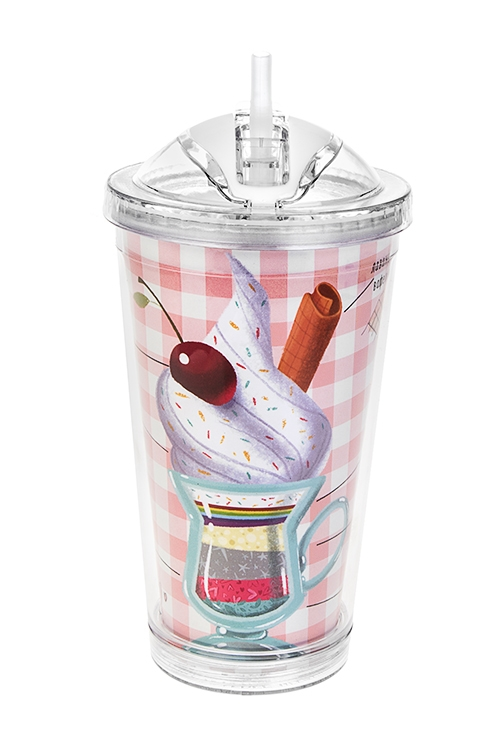 Термостакан Фруктовый коктейльПодарки ко дню рождения<br>480мл, акрил (с двойными стенками, с трубочкой, со сменным дек.)<br>
