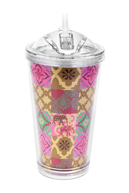 Термостакан Марокканский стильТермокружки и стаканы для чая/кофе<br>480мл, акрил (с двойными стенками, с трубочкой, со сменным дек.)<br>