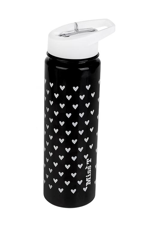 Фляжка спортивная СердечкиДача и Путешествия<br>720мл, пластм., черная<br>
