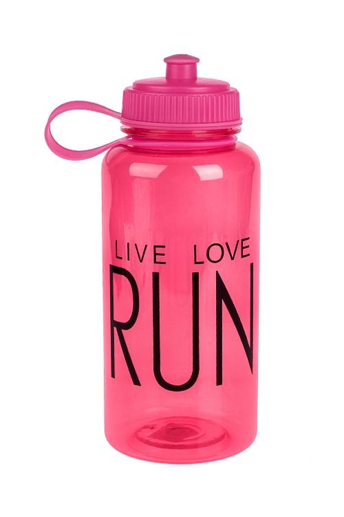 Фляжка спортивная Живи, люби, бегиДача и Путешествия<br>1000мл, пластм., розовая<br>
