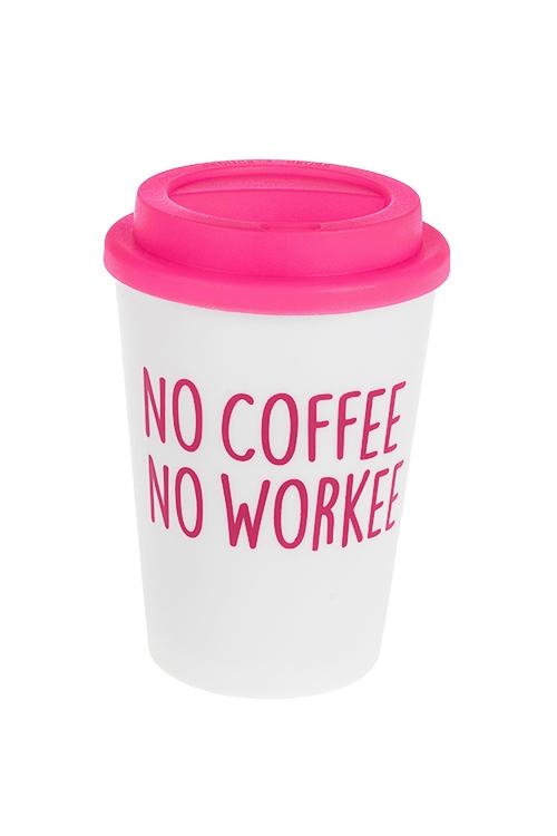 Термокружка Нет кофе - нет работыДача и Путешествия<br>350мл, пластм. (с двойными стенками)<br>