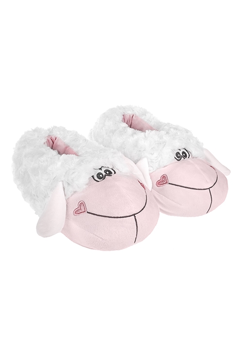 Тапочки домашние Овечка БеккиДомашние тапочки<br>Размер M/L, полиэстер, бело-розовые<br>