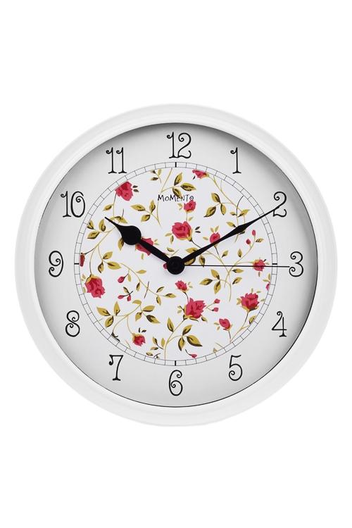 Часы настенные НежностьИнтерьер<br>Д=32см, пластм., стекло, бело-красные<br>