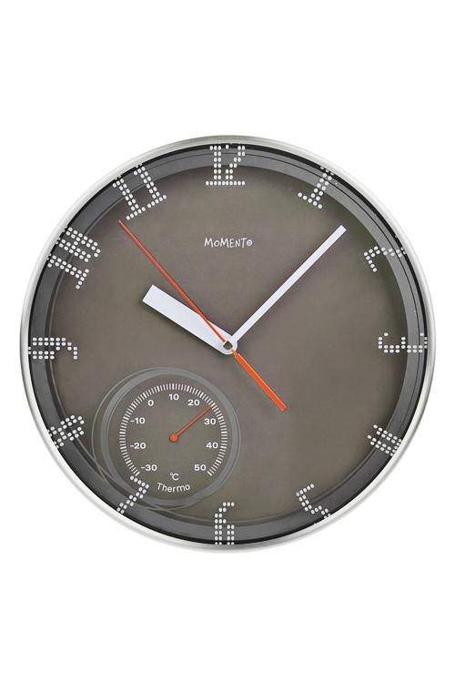 Часы настенные ДрайвИнтерьер<br>Д=30см, металл, стекло, черные, с термометром<br>