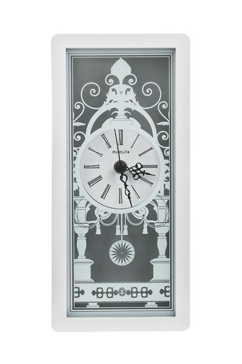 Часы настольные Изящные узорыИнтерьер<br>26*12*4.5см, пластм., бело-серые<br>
