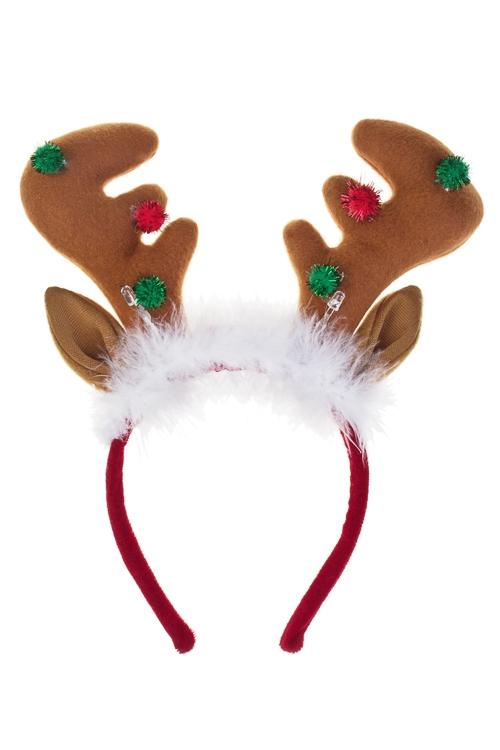 Обруч на голову для взрослых Волшебный оленьМаскарадные костюмы<br>Пластм., текстиль, с подсветкой<br>