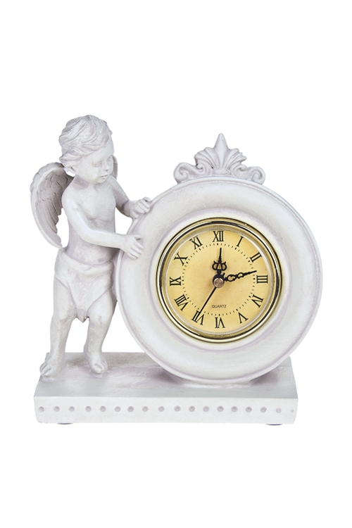 Часы настольные Под присмотром ангелаИнтерьер<br>Выс=15.5см, полирезин, крем.<br>