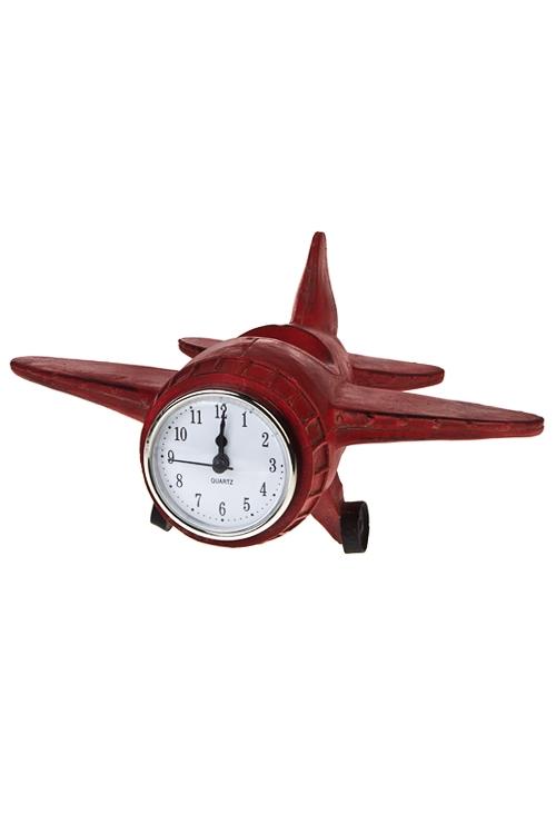 Часы настольные СамолетИнтерьер<br>19*24*12см, полирезин, красные<br>