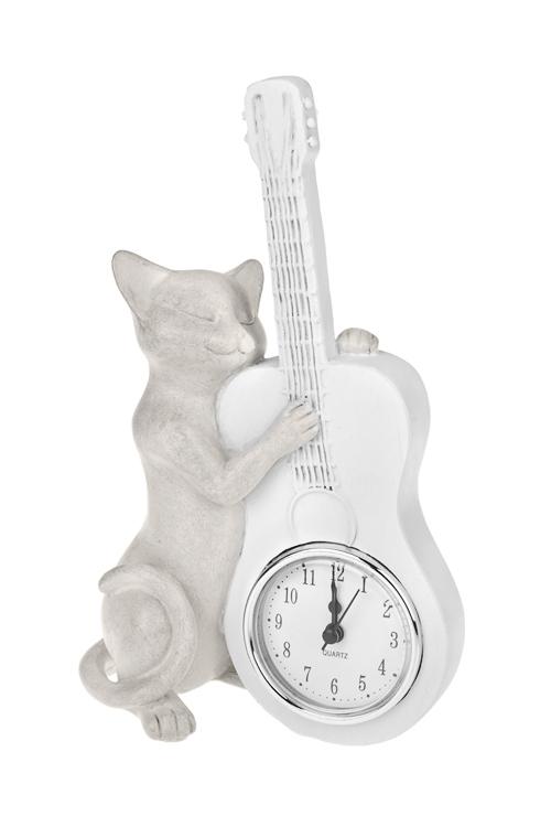 Часы настольные Котик музыкантЧасы Настольные<br>14*7*23см, полирезин, крем.<br>