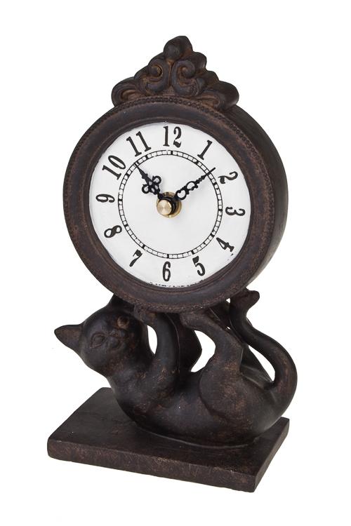 Часы настольные Игривый котенокИнтерьер<br>10*7*20см, полирезин, темно-коричн.<br>