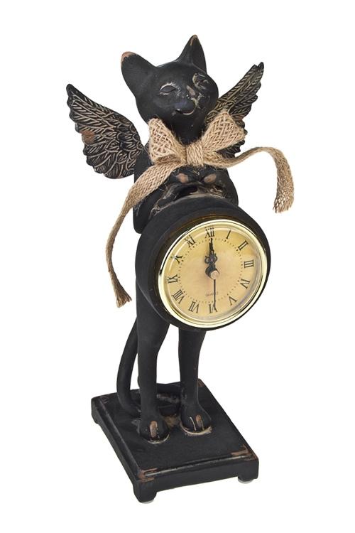 Часы настольные КотикПодарки ко дню рождения<br>12*12*26см, полирезин, черные<br>