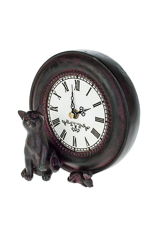 Часы настольные Киса с мышкойИнтерьер<br>8*15см, полирезин, сирен.-коричн.<br>