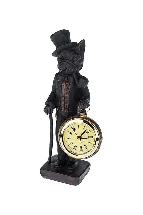 Часы настольные Пес джентльменИнтерьер<br>5.5*19см, полирезин, темно-коричн.<br>