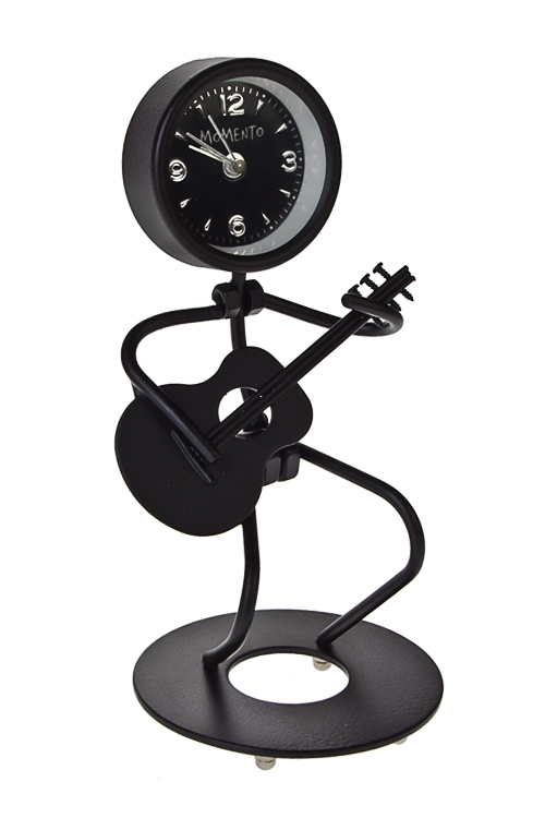 Часы настольные ГитаристИнтерьер<br>Выс=15.2см, металл, черные, с будильником<br>