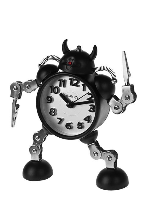 Часы настольные ТрансформерИнтерьер<br>Выс=17см, металл, с будильником, с подсветкой<br>