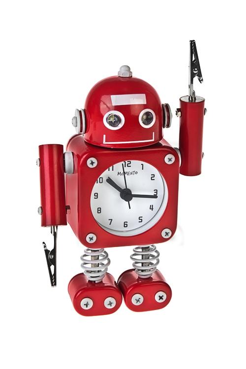 Часы настольные РоботИнтерьер<br>Выс=17см, металл, красные, с будильником, с подсветкой<br>