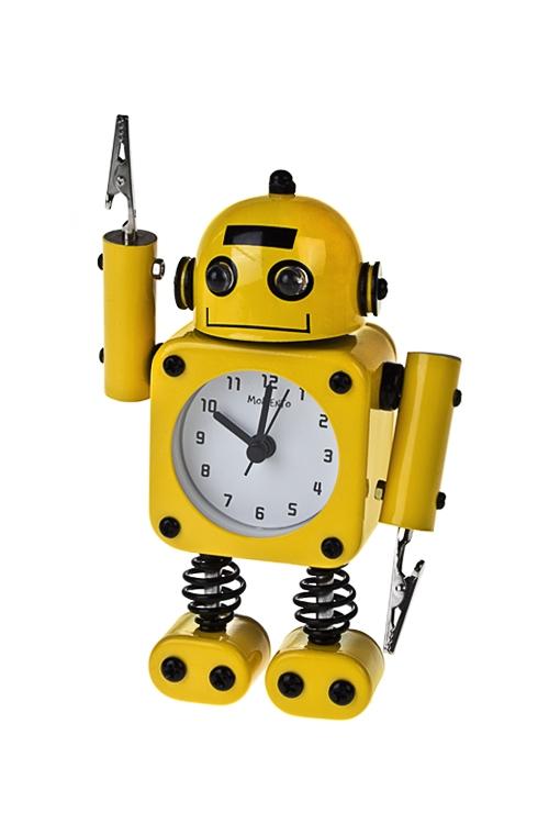 Часы настольные РоботИнтерьер<br>Выс=17см, металл, желтые, с будильником, с подсветкой<br>