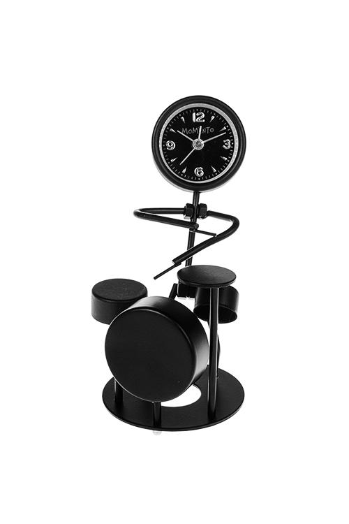 Часы настольные УдарникИнтерьер<br>Выс=16см, металл, черные, с будильником<br>