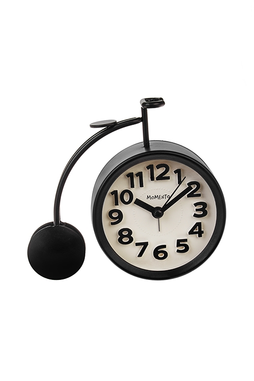 Часы настольные ВелосипедИнтерьер<br>Металл, черные, с будильником, 12*13см<br>