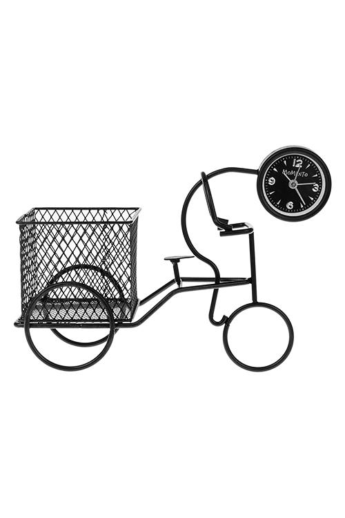 Часы настольные Универсальный помощник - 2Интерьер<br>16*21см, металл, черные, для канц. принадл.<br>