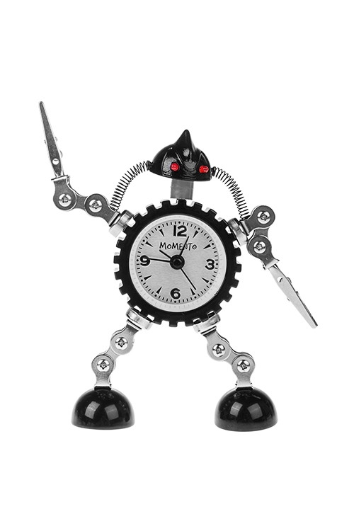 Часы настольные ТрансформерИнтерьер<br>Выс=15см, металл, с будильником, с подсветкой, черно-серебр.<br>