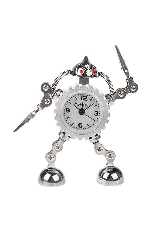 Часы настольные ТрансформерИнтерьер<br>Выс=15см, металл, с будильником, с подсветкой, бело-серебр.<br>