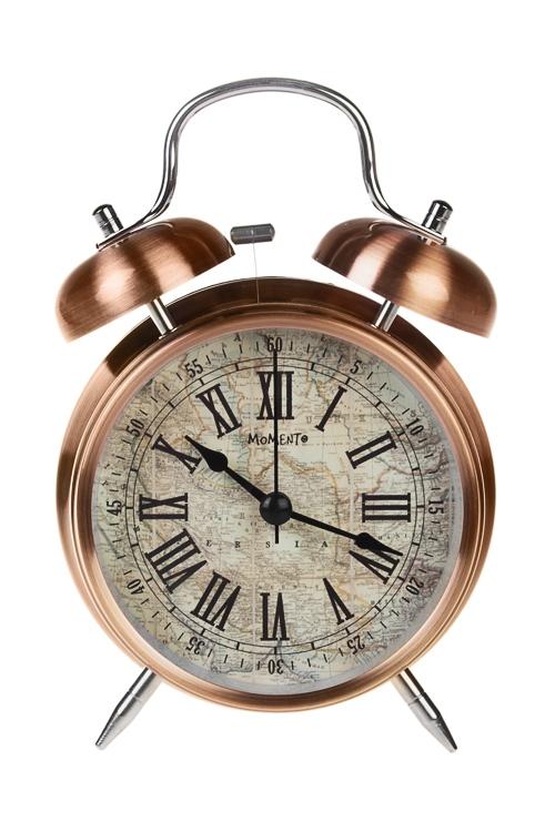 Часы настольные Карта мираИнтерьер<br>11.3*16.5см, металл, стекло, с будильником, с подсветкой<br>