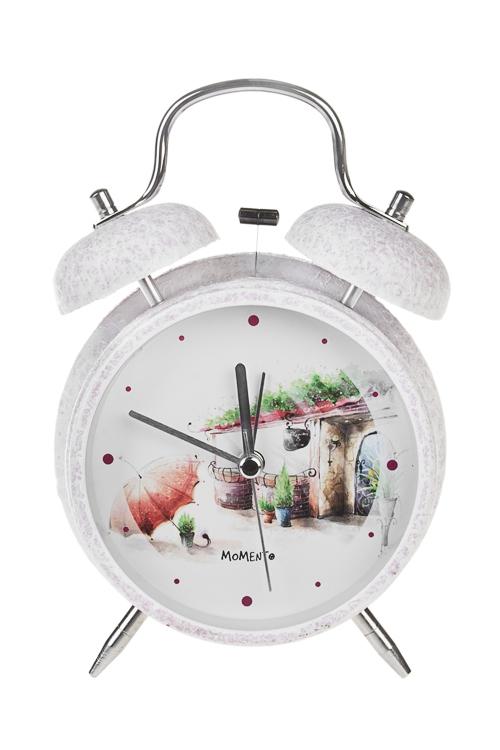 Часы настольные Сказочный домЧасы Настольные<br>11.3*16.5см, металл, стекло, с будильником, с подсветкой<br>