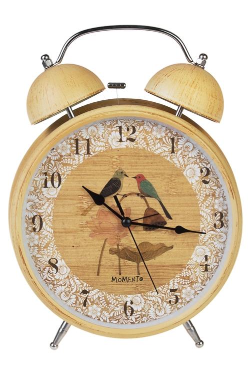 Часы настольные ПтичкиИнтерьер<br>23.6*29.5см, металл, стекло, с будильником, с подсветкой<br>